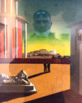 Self Portrait with Giorgio de Chirico´s Painting Piazza d'Italia, Città di Castello 2020