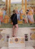 The Artist Isa Melsheimer and Pietro Perugino's fresco Adoration of Magi c.1521-22 Trevi, Umbria